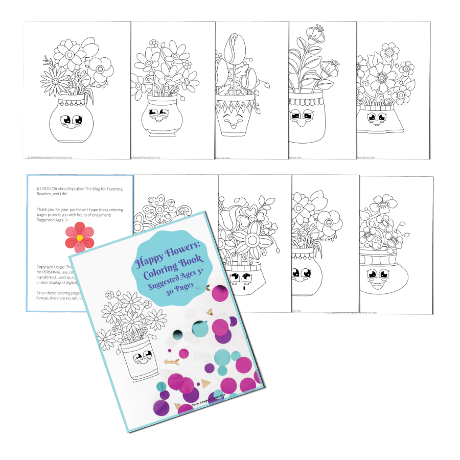 Happy Flowers Coloring book for ages 3+